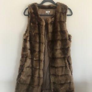 Tobi Brown Fur Vest